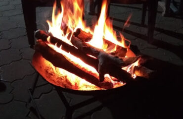Campfire with social gathering