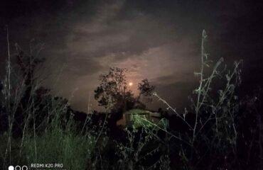Full moon at campsite